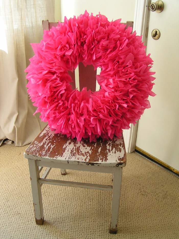 Tissue Paper Wreath Tutorial by A Blissful Nest