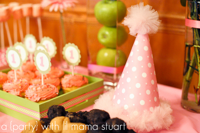 A Blissful Nest Lil Mama Stuart 010 {BN Black Book of Parties} Pink and Green Polka Dot 1st Birthday