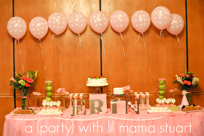 A Blissful Nest Lil Mama Stuart 011 {BN Black Book of Parties} Pink and Green Polka Dot 1st Birthday