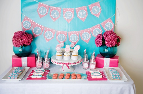 BN Black Book Of Parties Aqua and Pink Spa 5th Birthday Party A
