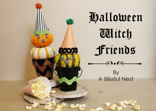 A Blissful Nest DIY Tutorial Halloween Witch Pumpkin Topiary {DIY} Witch Pumpkin Topiaries