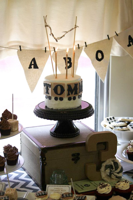At The Center Of Dessert Table Was A Darling Cake Adorned With Fondant Train Spelling Out Birthday Boys Name Other Yummy Treats Included Red