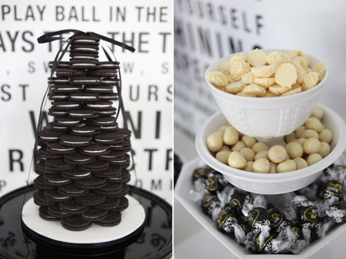 the delicious desserts included mini cheesecakes oreo cheesecake in a jar beautiful black white macarons homemade marshmallows and an assortment of