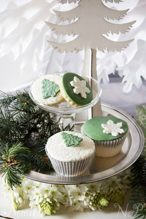 green and white cookies and cupcakes