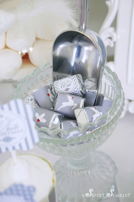 A Blissful Nest - Sweet Scarlet White Christmas mini candybar wrappers