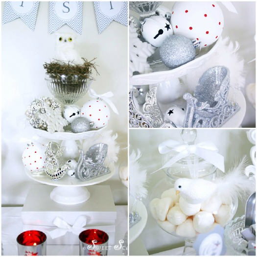 A Blissful Nest - Sweet Scarlet White Christmas centerpiece