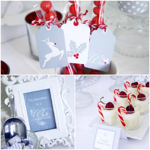 A Blissful Nest - Sweet Scarlet White Christmas collage