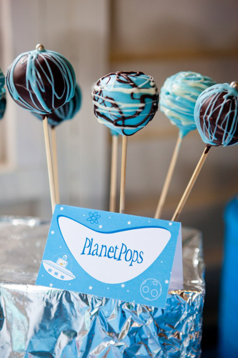Rockets and Robots space party cake pops