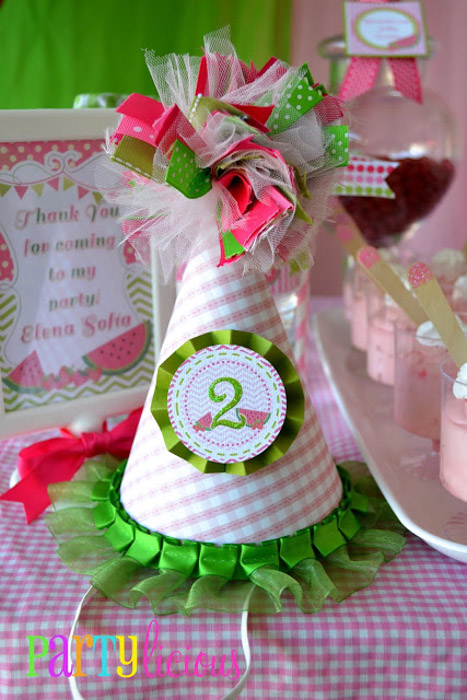 Watermelon Berry birthday party hat