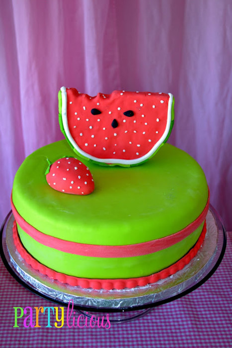 Watermelon Berry Birthday party cake
