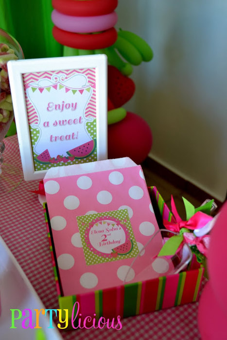 Watermelon Berry birthday party candy bags