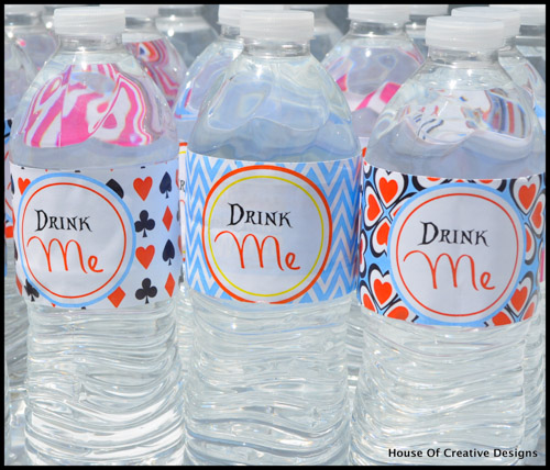 Alice in Wonderland party water bottles