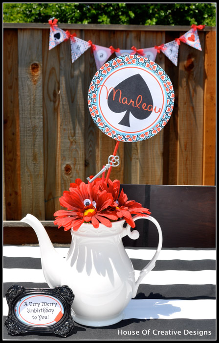 Alice in Wonderland party teapot centerpiece