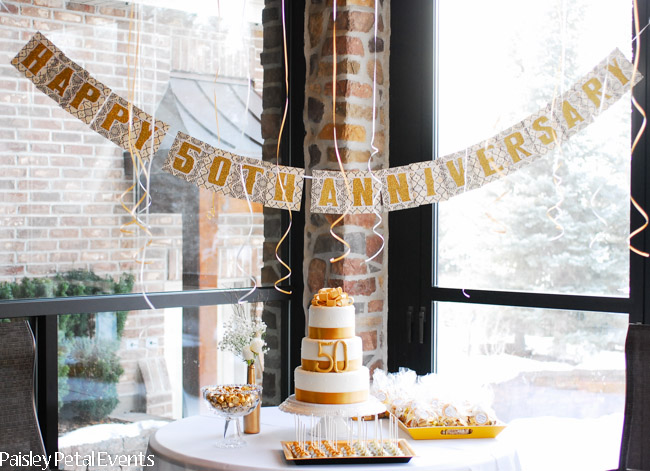 Golden 50th wedding anniversary for 50th wedding anniversary party decoration ideas