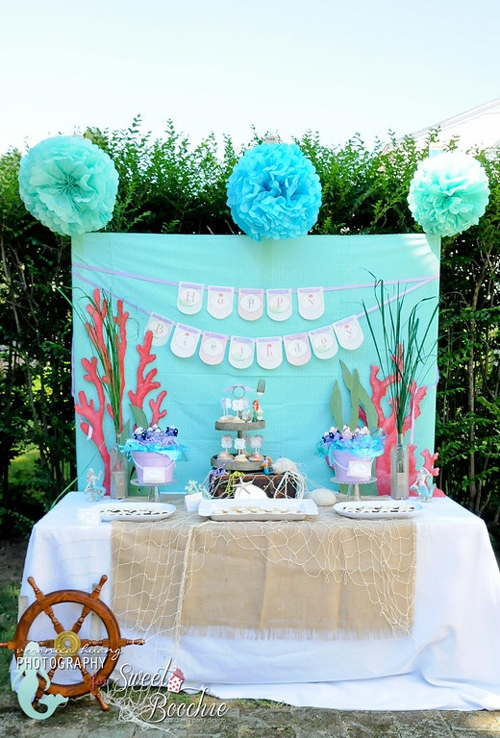 Little mermaid ariel inspired birthday party for Ariel party decoration ideas