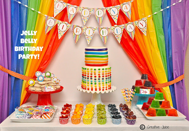 Rainbow jelly bean party table