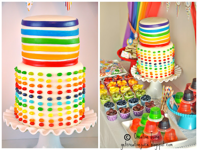 Rainbow jelly bean party cake