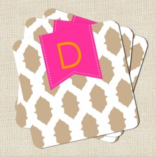 Ikat Monogramed Coasters - A Blissful Nest - Tan