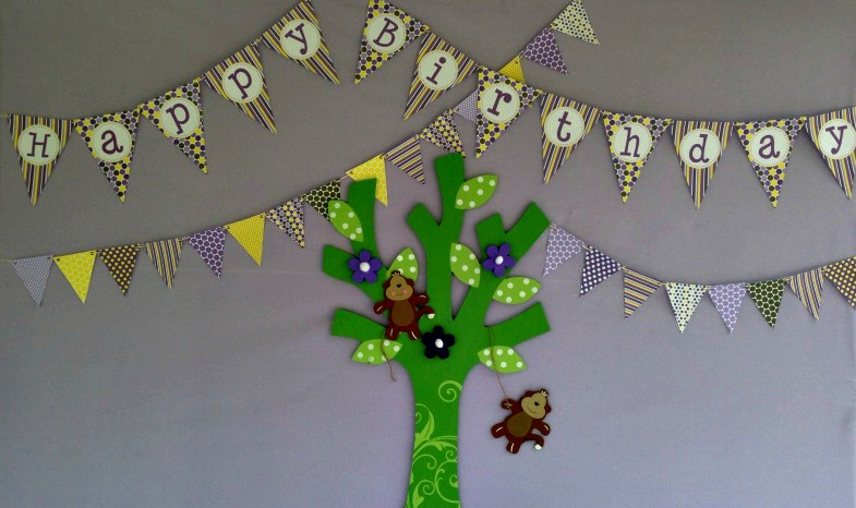 purple and yellow monkey party tree
