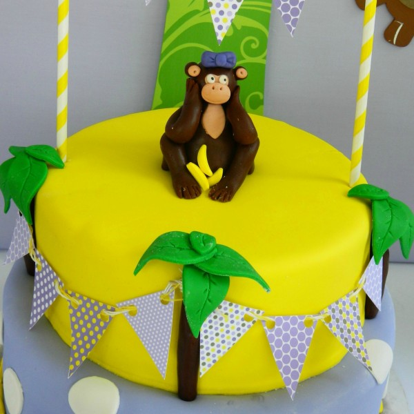 purple and yellow monkey cake