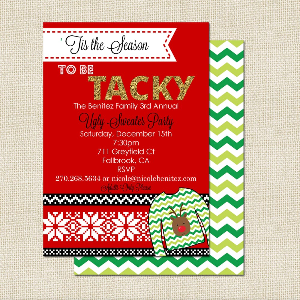 Free Printable Ugly Christmas Sweater Party Invitations is adorable invitation template