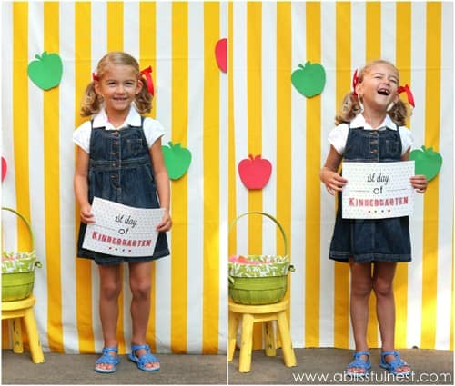 Easy to recreate photo booth idea for first day of school. #ABlissfulNest