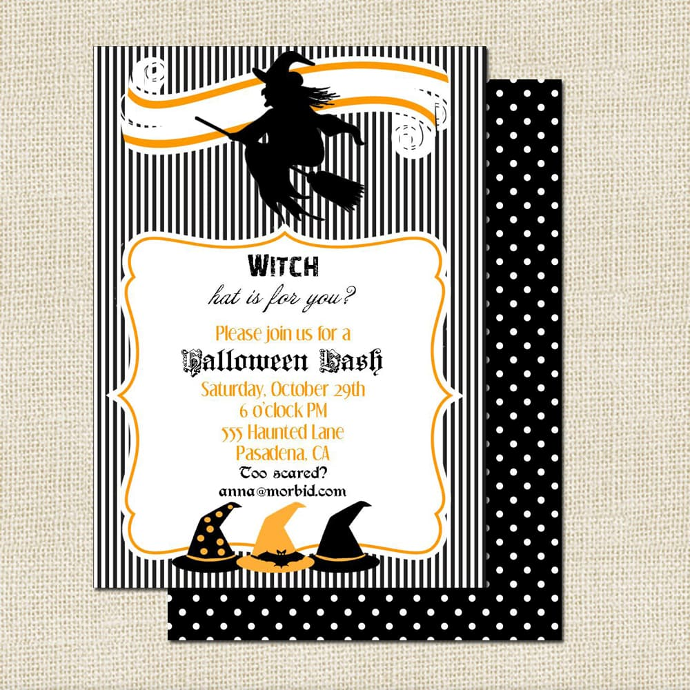 halloween witch party invitations