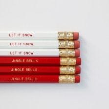 Let It Snow & Jingle Bells Pencils by A Blissful Nest