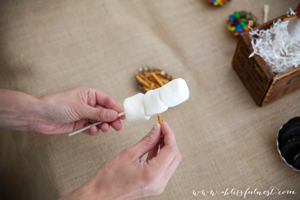 DIY Snowman Marshmallow Pop Tutorial - step two - Winter Wonderland by A Blissful Nest