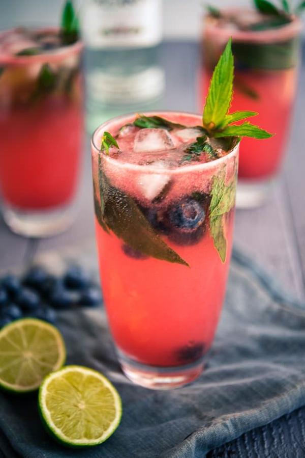 Watermelon and Blueberry Mojito