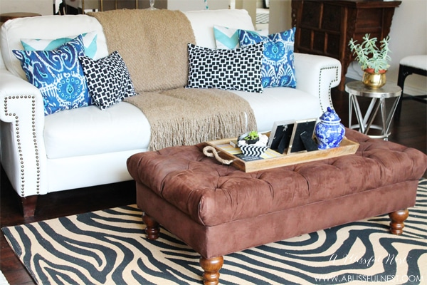 {Our Home} Blue and White Living Room Decor Reveal