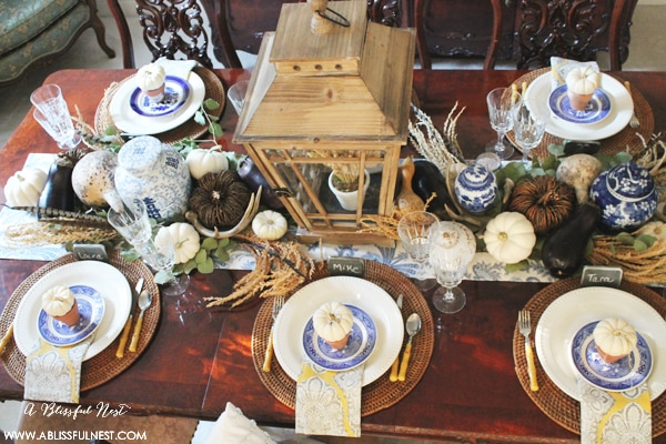 Fall Dining Room Ideas by A Blissful Nest & Thanksgiving Table Setting Ideas Using Blue and White Decor