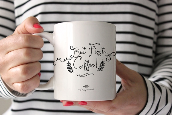 But First Coffee Mug by A Blissful Nest - Perfect inspirational quote mugs for holiday gifts! All coffee lovers need a pick me up in the morning!