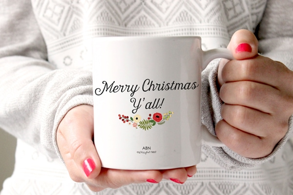 Merry Christmas Y'all Mug by A Blissful Nest - Perfect inspirational quote mugs for holiday gifts! All coffee lovers need a pick me up in the morning!