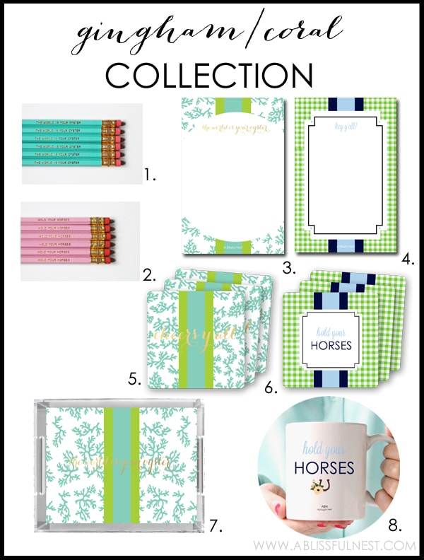 Gingham Coral Collection by A Blissful Nest