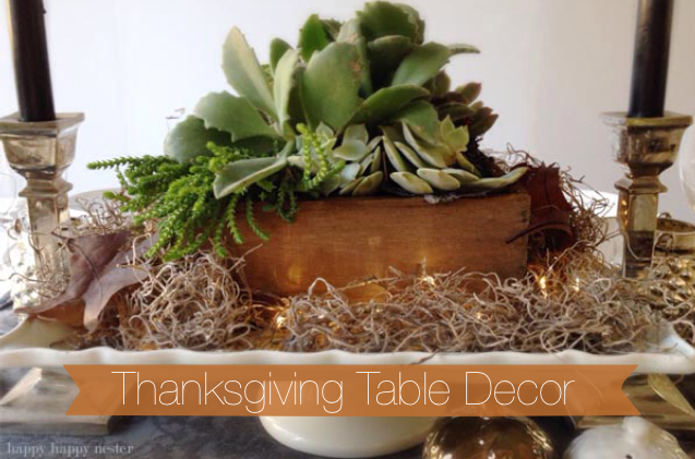 Use succulents for Thanksgiving table decorations for a modern pop