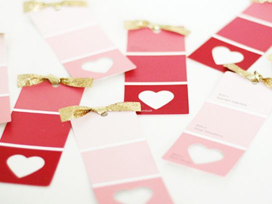 Color Swatches With Punched out Heart - Valentines Day Ideas