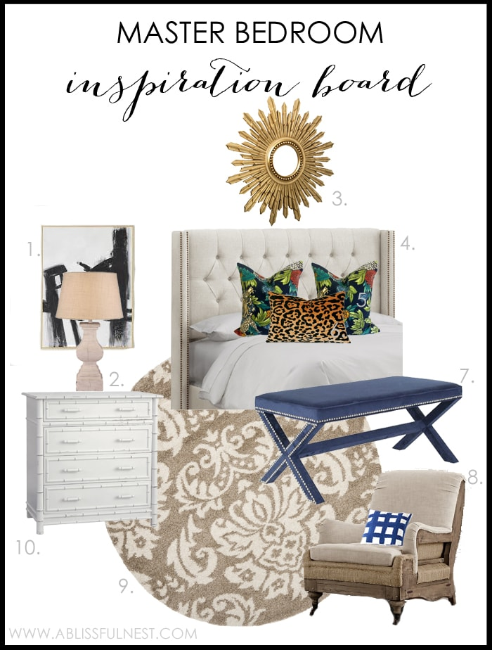 Master Bedroom Inspiration Board by A Blissful Nest