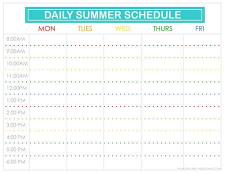 Free Printable Summer Schedule by A Blissful Nest