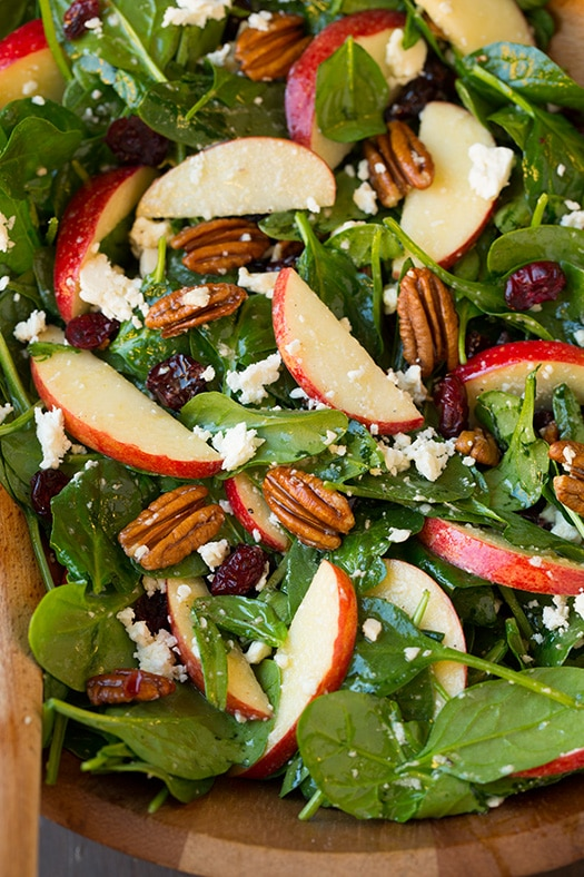 Apple Pecan Spinach Salad with Maple Cider Vinaigrette