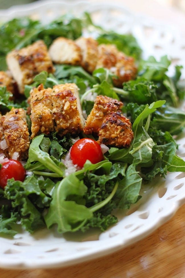 Kale and Arugula Salad with Almond Breaded Chicken and Champagne Vinaigrette