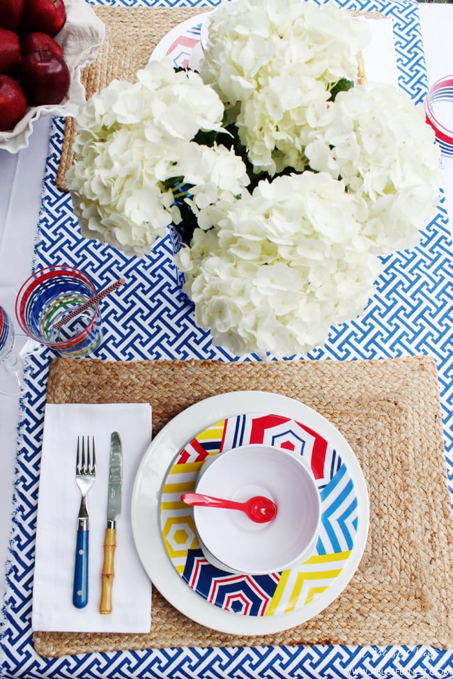 Patriotic Red White and Blue Table Setting by A Blissful Nest
