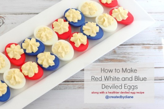 Red White and Blue Deviled Eggs