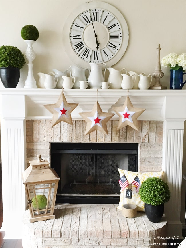 Red White and Blue Fireplace Mantel Decorations by A Blissful Nest