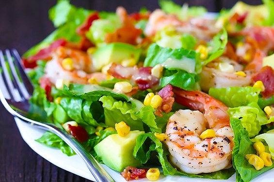 Shrimp Avocado and Roasted Corn Salad