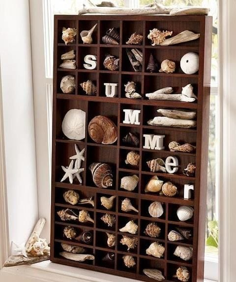 Display shells in a printers tray and spell out summer!