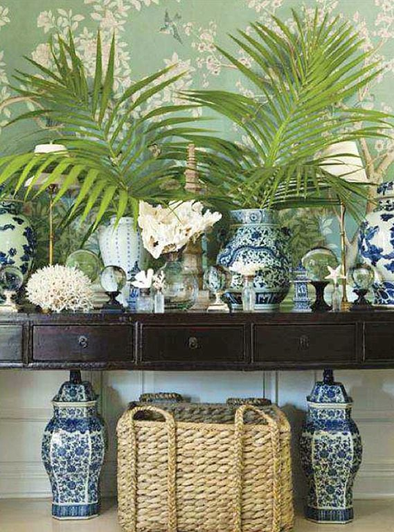 Mix shells with classic blue and white ginger jars
