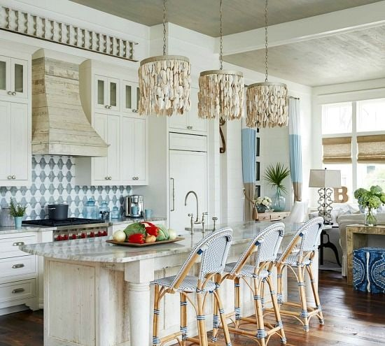 Use shells in light fixtures for a coastal feel to a room