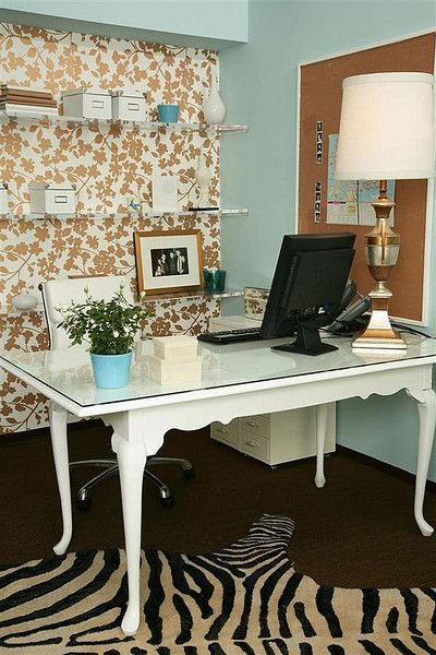 Add a focal wall behind your small office desk space to make it seem larger