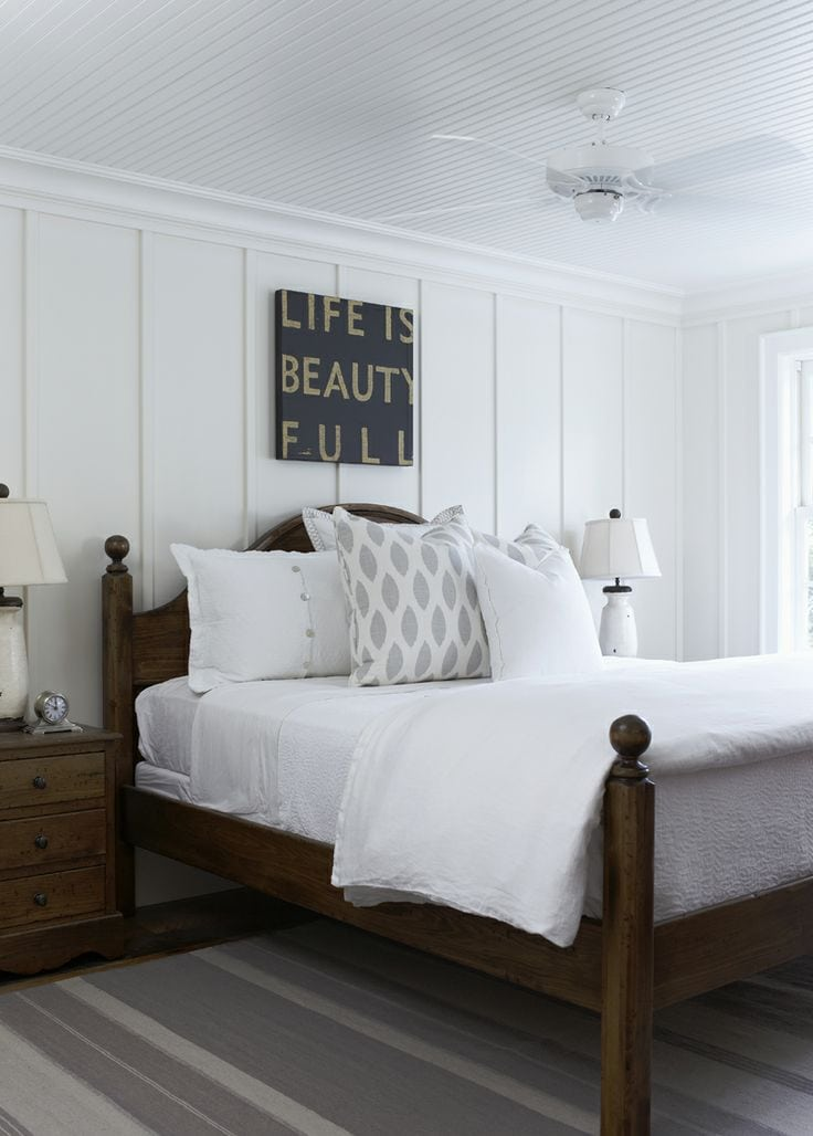 Add wainscoting behind a bed